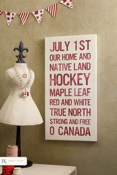 July 1 - Canada Day Canvas from Poetry Custom Canvas Can paint this myself. Consider one for each season/occasion and switch them out. I would just change hockey cause I just wouldn't bother with that Canada For Kids, Canada Day 150, All About Canada, Happy Canada Day, O Canada, Canada Day Crafts, Canada Day Party, Canada Holiday, Diy Wood Signs