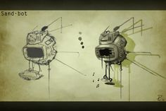 A concept for a scrappy Eyebot in various sketches of disrepair.