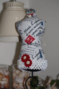 Dressmaker Form Pin Cushion Mannequin French Print by sherimusum, $25.00