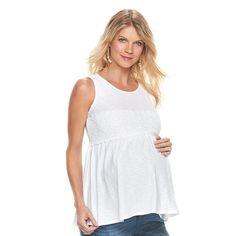 Maternity a:glow Crochet-Trim Tank, White