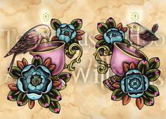 Aves de idea en las tazas de té del tatuaje Art A4 Print