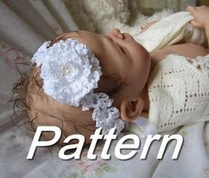 Crochet Lace Baby Toddler Adult Headband Pattern with Frilly Rose