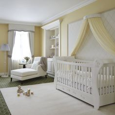 I love the idea of white/ivory and a soft butter yellow for a baby room instead of the traditional and overused pink or blue