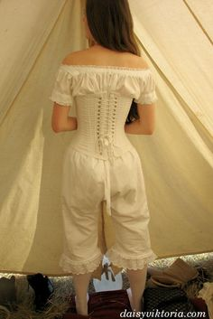 Civil War Underpinnings (Not completely correct but close enough to give those who don't know an idea. Drawers should be split crotch (not appropriate to show here) and stockings should be cotton or wool knit.) I'm assuming the chemise is tucked in here, not sure because this is not me it's a random picture I found.