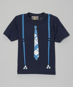 Look at this Navy Suspenders & Tie Tee - Infant & Toddler on #zulily today!