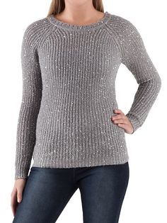 Long Sleeve Sequined Crew Neck Sweater - $19.80 #dotsPintoWin