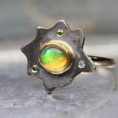 Flashy Welo Opal Diamond Statement Ring Sunset Dark Silver Yellow Gold Green Orange Blue Abstract - Ethiopian Sun