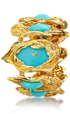 Wristwatch in yellow gold set with turquoise by Piaget