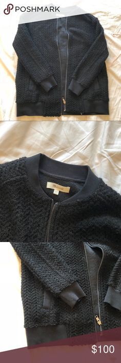 Madewell Textured Bomber Sweater Jacket Sweater jacket from Madewell; bomber style with the cuffs and neckline. Worn once; like new! Fits like a small. Madewell Jackets & Coats