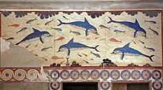 Fresco of the dolphins UNKNOWN ARTIST  c.1800-1400 b.c. Mural, Knossos Palace, Crete