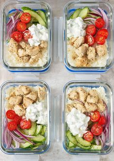 These greek chicken meal prep bowls with greek sauce and cucumber salad make an inexpensive and well-balanced lunch option for the office or on campus. Lunch Meal Prep, Meal Prep Bowls, Easy Meal Prep, Healthy Meal Prep, Easy Meals, Chicken Breast Recipes Healthy, Healthy Recipes, Healthy Chicken, Clean Eating Snacks
