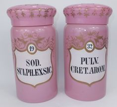 Rare pink glass and enamel labelled chemist jars. C1880. Made in Bohemia for the English market.