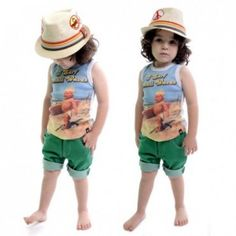 Rock Your Baby I Surf Small Waves Singlet and Chuck Green Denim shorts