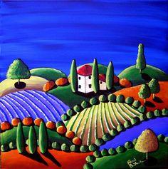 Folk Art Landscapes   Tuscan Tuscany Landscape Scene Whimsical Folk Art Art Print by Renie ...