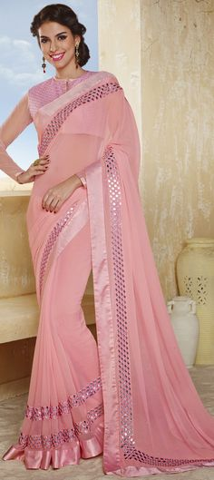 156210: PASTEL PINK! for the love of this pretty color, have a look at this #saree -  flat 15% off + free worldwide shipping.