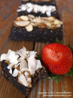 Raw Protein Brownie - with protein powder, cocoa powder, chia seeds, coconut milk and nut butter (or coconut butter). Could make a blondie version, or a coconut/pecan version.