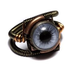 Steampunk Jewelry - RING - BLUE taxidermy glass eye