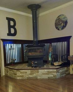 Home, Cabin Decor, Rustic House, Home Remodeling, House, Corner Wood Stove, Ranch House, Wood Burning Stove Corner, Fireplace