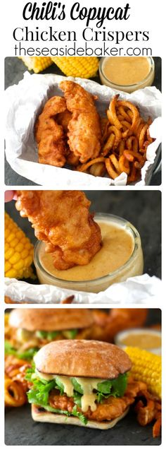 Copycat Chili's Chicken Crispers - With Video - Homemade crispy battered chicken tenders with honey mustard dipping sauce just like at Chili's! Batter For Chicken Tenders, Fried Chicken Tenders, Fried Chicken Batter, Chicken Finger Batter Recipe, Battered Chicken Tenders, Air Fryer Recipes Chicken Tenders, Crispy Chicken Burgers, Chicken Crisps, Chicken Nachos