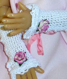 Shabby Chic Arm Warmers Wrist Cuffs for Kaye Wiggs MSD BJD Doll