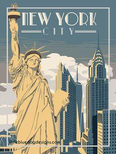 New York City - Vintage Travel Poster