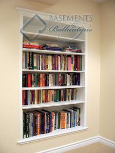 recessed bookshelves in between the wall studs, talk about space saving!! we can put these in the basement, office, bedroom, living room, everywhere and anywhere! even the kitchen could use one for extra space!