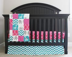 Custom Crib bedding Hot Pink Turquoise and Grey by GiggleSixBaby
