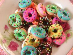Delicious doughnuts with candy sprinkles! Yum :)