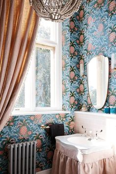 'Pineapple' wallpaper by Adelphi Paper Hangings brightens up the cloakroom, while a glamorous chandelier completes the look. Wallpaper Uk, Interior Wallpaper, Unique Wallpaper, Bathroom Wallpaper, Wallpaper Ideas, Peacock Wallpaper, Pastel Wallpaper, Bathroom Red, Bathroom Wall Decor