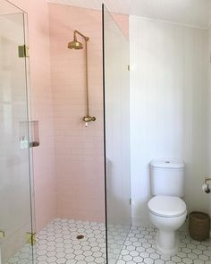Master bath – Pink tile in shower section; no tub; simple clean … Master bath – Pink tile in shower section; no tub; Small Bathroom With Tub, Design Your Own Bathroom, Modern Bathroom Decor, Bathroom Layout, Contemporary Bathrooms, Bathroom Colors, Bathroom Interior, Bathroom Ideas, Bathroom Photos