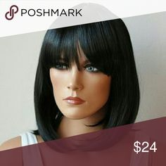 Natural Black, synthetic wig Bob style, straight full bang, Cosplay wig for women Other