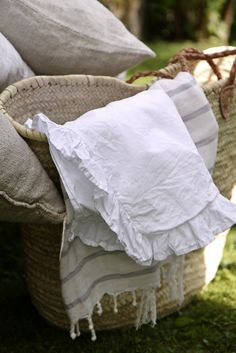 ruffled white pillow  cases, a main stay in my linen closet.