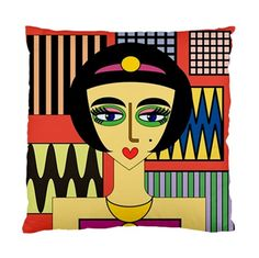 Cleopatra With Patterned Background Double Sided Pillow Cover | Bling Jewellery by Janine Antulov | madeit.com.au