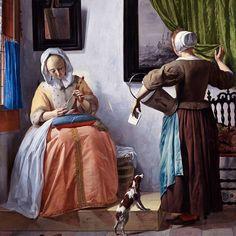 """Gabriel Metsu femme lisant une lettre 1665 _____ Une œuvre dans le style typique des provinces unies. A ne pas confondre avec l'art flamand catholique riche et incarne par Rubens. Ici c'est un art """"protestant"""" plus sobre. Dans ces toiles généralement petite il y a énormément de symboles : la lettre c'est l'amant qui écrit à une femme qui trompe son mari (parti en me tableau et représenté par le chien la fidélité) _____ #ArtAncien #Peinture #Art #Masterpiece #Paris #OilPainting #Museum…"""