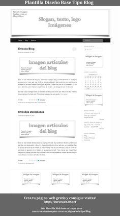 Plantilla base tipo Blog. Sigue los pasos de cursoweb20.net y diseña tu blog gratis y consigue visitas