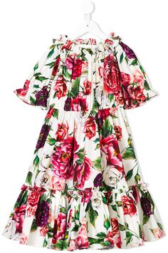 96c0b1e20a1b Dolce   Gabbana gathered floral dress Designer Kids Clothes