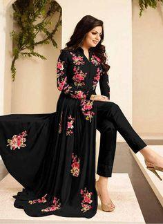 Black Floral Embroidered Anarkali In Georgette