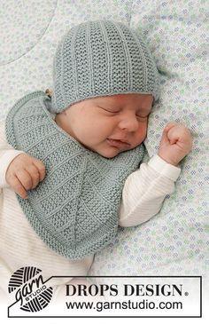 Baby Business Set / DROPS Baby 33-20 - Kostenlose Strickanleitungen von DROPS Design Baby Knitting Patterns, Baby Bibs Patterns, Crochet Blanket Patterns, Free Knitting, Baby Barn, Bib Pattern, Drops Design, Crochet Diagram, Garter Stitch