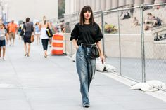 Street style at Fashion Week spring-summer 2017 New York wide flare jeans