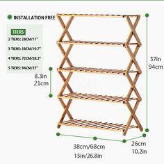 Unbranded Bamboo Rack Plant Stands for sale Garden Shelves, Plant Shelves, Display Shelves, Wood Shoe Rack, Wooden Rack, Wooden Pallet Furniture, Diy Furniture, Outdoor Garden Decor, Indoor Outdoor