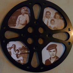 Craft: Film Reel Frame for Old Photos. Old home movies are genealogy gems, and the good news is that we are all bit players in each others films (think of the houses and people that appear in the background of your home movies!) This is a topic we have di Movie Reels, Film Reels, Movie Film, Movie Decor, Movie Themes, Movie Themed Rooms, Rustic Crafts, Rustic Decor, Deco Cinema