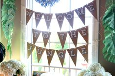 Welcome to the Jungle bunting - safari jungle birthday party - first birthday party - party decorations - DIY party decorations - This is our Bliss