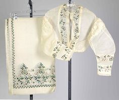 Evening stole and bodice, beetle wing embroidery 1860s