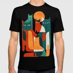 (Unisex Cat Family T-Shirt) #Abstract #Animals #Cat #Geometric #SimpleWhimsicalColorfulIllustrationOfAFelineFamilyColorful #Vector #Vintage #Whimsical is available on Funny T-shirts Clothing Store   http://ift.tt/2grOB8F
