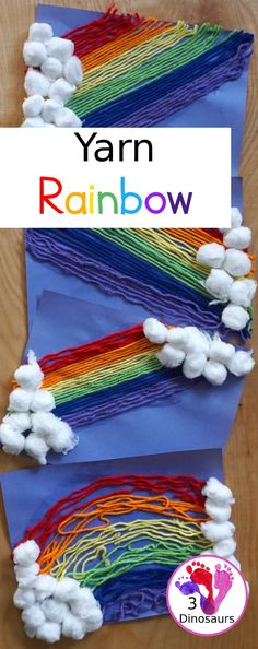 Yarn Rainbow Craft – Find Your St Patrick's Day Activities Yarn Crafts For Kids, Preschool Arts And Crafts, Creative Arts And Crafts, Spring Crafts For Kids, Craft Activities For Kids, Toddler Crafts, Easy Crafts, Classroom Crafts, Motor Activities