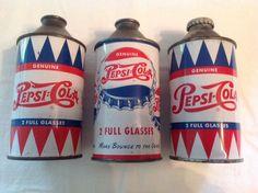 3 Great Pepsi Cola Cone Top Cans, Rare 1949- 1950- 1951 in Collectibles, Advertising, Soda, Coca-Cola, Cans | eBay