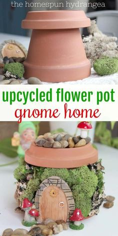 Fairies garden 509399407855074483 - Flower Pot Fairy Garden House – See how to turn a flower pot into the perfect fairy house or gnome home for your fairy garden. The Homespun Hydrangea Source by KatieFemiaHH Kids Fairy Garden, Fairy Garden Houses, Gnome Garden, Herb Garden, Diy Fairy House, Fairy Pots, Garden Totems, Fairies Garden, Garden Whimsy