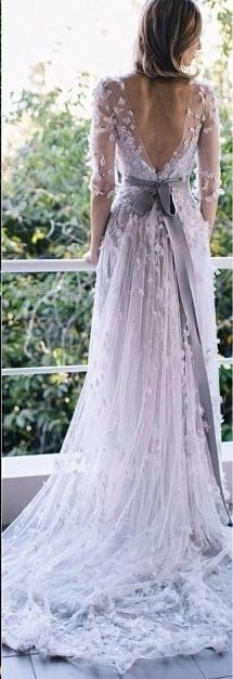 Lavender gown- I love colored wedding dresses! I would wear this if the back was covered. :)