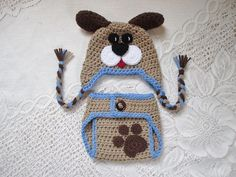 Puppy Dog Crochet Hat and Diaper Cover Set  Photo Prop