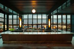 Rooftop Bars Restaurants Design | Architectural Digest Rooftop Restaurant, Rooftop Bar, Restaurant Design, Craft Cocktails, Manhattan, Wythe Hotel Brooklyn, New York City Bars, Rose Bar, Glass Building